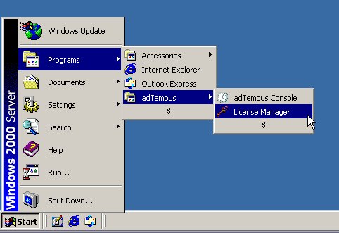 Image showing how to run the License Manager software