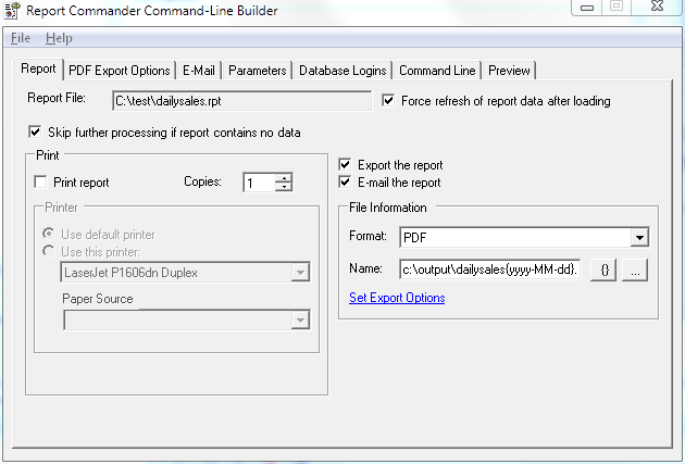 Screen capture of Report Commander Command Line Builder user interface