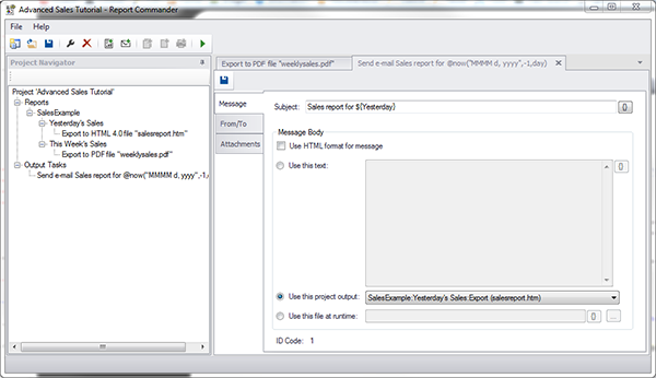 Screen capture of Report Commander Project Editor main window